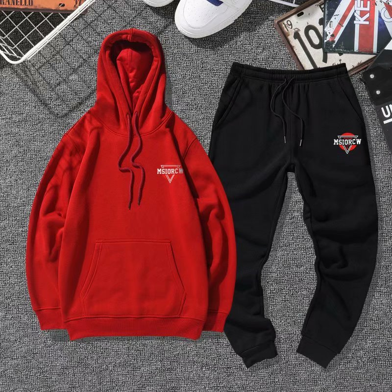Autumn And Winter New Style Couples Leisure Suit Students Set Two-Piece Set Trend Hoodie Couples Sports Clothing