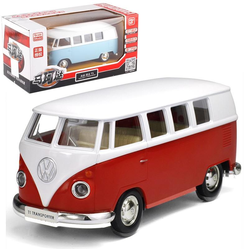 1:36 VW Bus T1 модель из сплава, автомобиль, литье под давлением, модель автомобиля для мальчика, игрушка, детский подарок