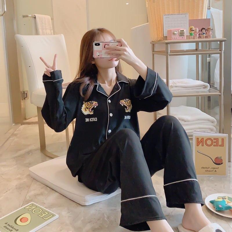 [Jun Xin] Spring Pajamas WOMEN'S Cardigan Casual Cartoon Sweet Cute Fold-down Collar Open Buckle Home Wear