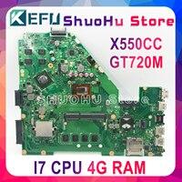 Kefu x550cc placa-mãe para laptop  para asus x550ca pro y581c x550c x550cl  cpu i7 4g testado 100% trabalho original mainboard