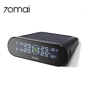 Image 1 - 70mai TPMS монитор давления в шинах Bluetooth, автомобильное давление в шинах, Солнечная USB Двойная зарядка, светодиодный дисплей, умная система сигнализации, управление приложением
