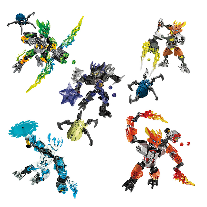 BIONICLE Series XSZ 706 Jungle Rock Water Earth Ice Fire Protecto Action Building Block Compatible Legoinglys Toys for Children