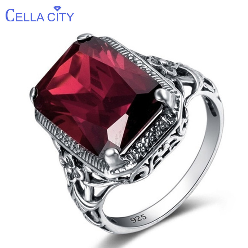 Cellacity Geometry Ruby Ring for Women Silver 925 Jewelry Rectangle Gemstones Luxury Design Female Anniversary Party Accessory