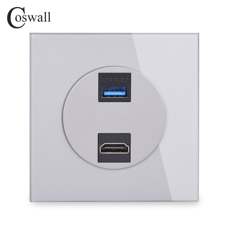 Coswall Gray Crystal Tempered Glass Panel HDMI 2.0 Port USB 3.0 Jack Wall Power Socket Outlet AC 110~250V R11 Series Grey Color