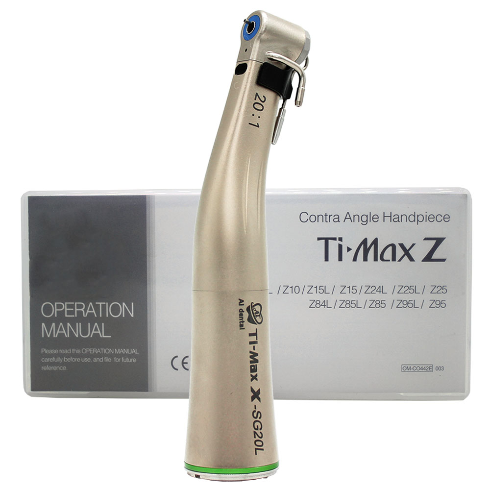 Ti Max Series 20:1 Reduction Push Button Low Speed Green Ring Contra Angle Dental Implant Surgery Handpiece With Optical Fiber