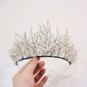 Image 2 - New Design Pearl Big Crown Wedding Tiara And Crown Gorgeous Black Wire Handmade Headband  Vintage Jewelry Bridal Headpiece