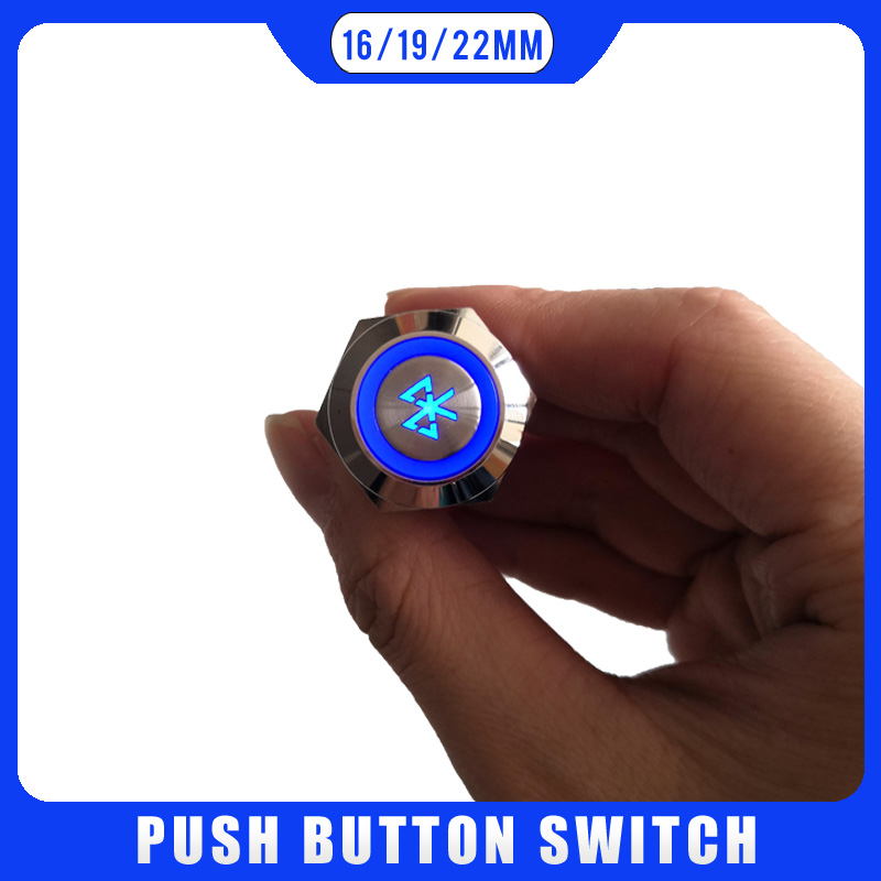 Bluetooth Button Car Motorcycle Waterproof Metal Push Button Switch LED