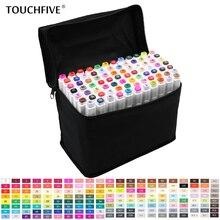 TouchFive 30/40/60/80 צבעים סמני סט כפול בראשות סקיצה סמני אלכוהול שמנוני מבוסס דיו מקצועי אספקת אמנות עבור ציור