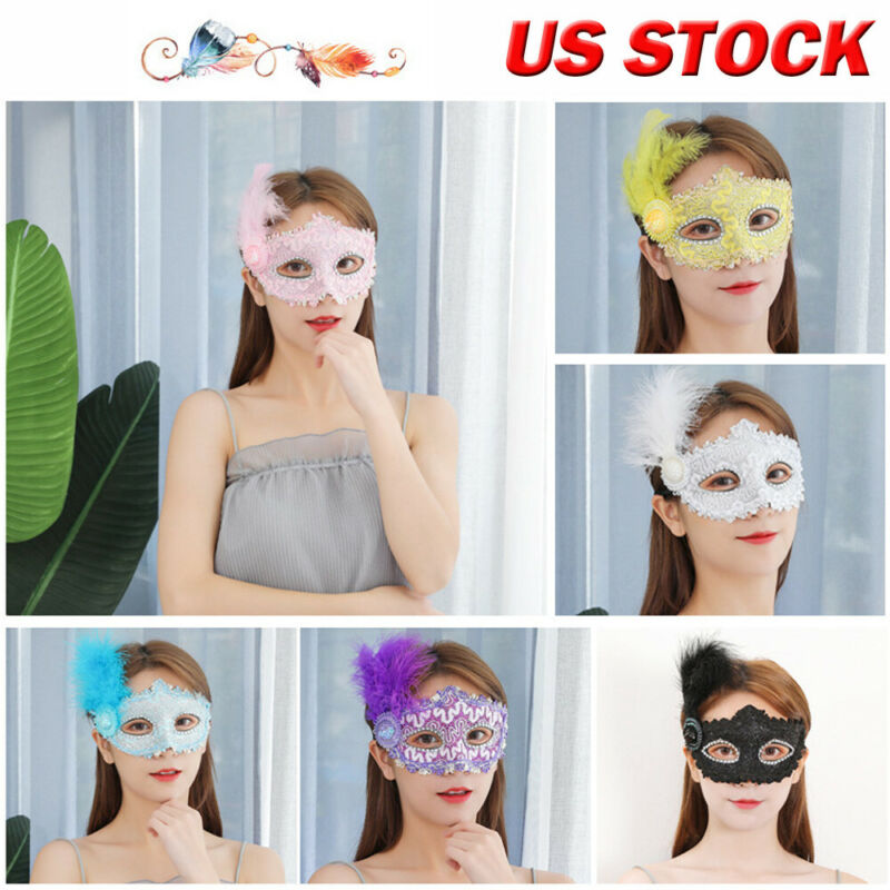 Fashion Women Black Lace Eye Face Mask Feather Mask Masquerade Party Ball Prom Halloween Costume Party 6Colors