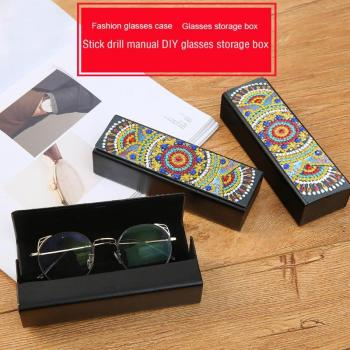 VKTECH 5D DIY Diamond Painting Eye Glasses Box Travel Leather Sunglasses Storage Case Diamond Embroidery Storage Case Gifts Hot image
