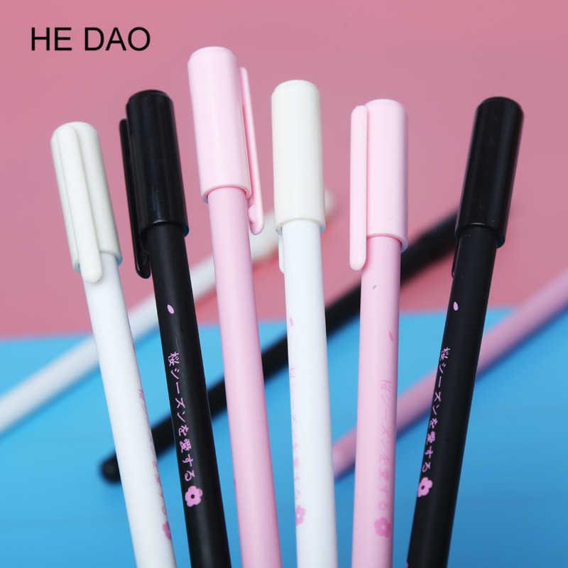 Pluma de Gel de Sakura romántica Rollerball pluma de oficina escolar suministro de papelería de estudiante firma pluma de tinta negra 0,38mm