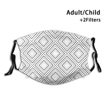 Caro Black & White Pattern Reusable Mouth Face Mask With Filters Kids Pattern Geometric Geometric Black White Square Squares image
