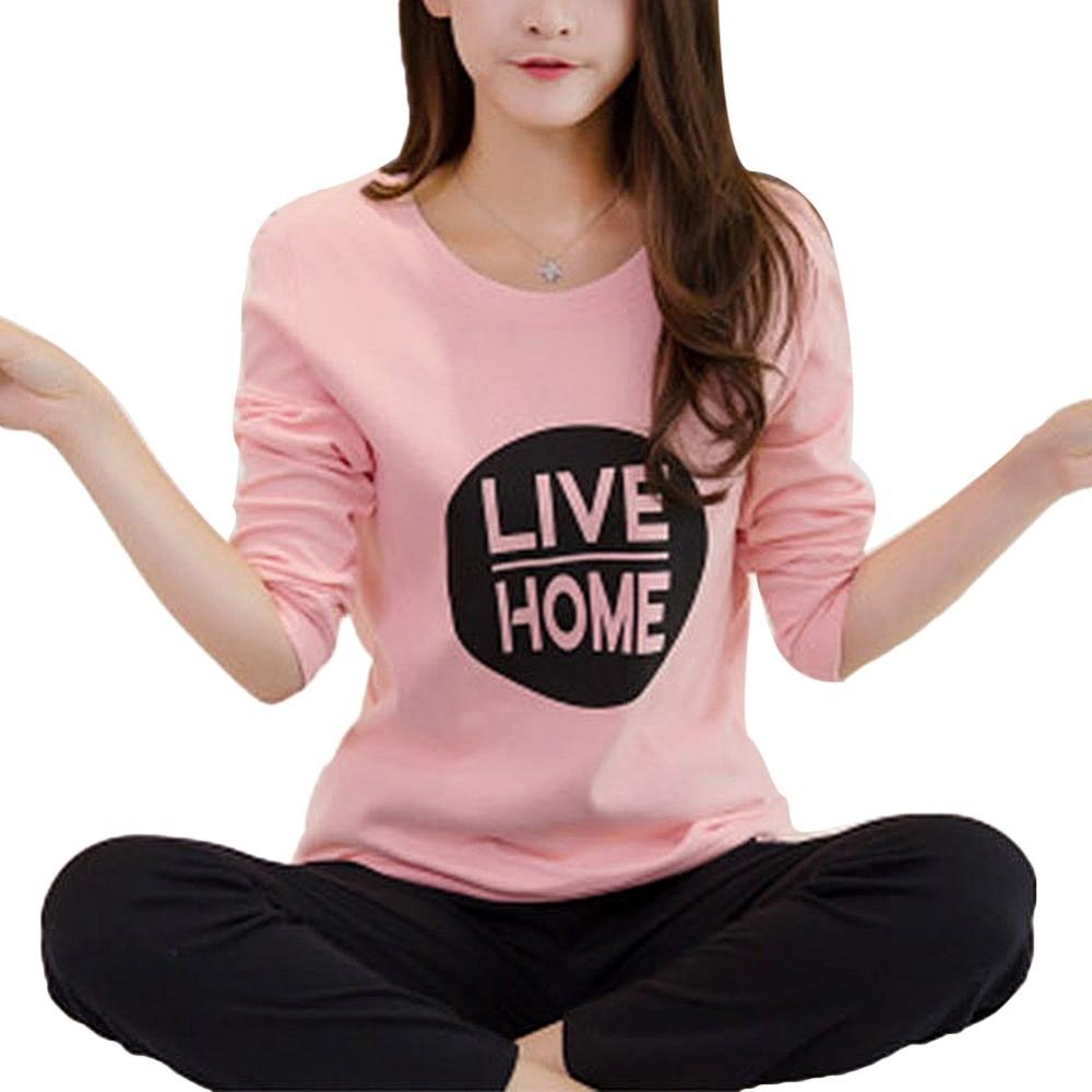 Winter Cute Cartoon Cat Print Pajamas Long Sleeve Two Piece Home Wear Women Casual O-Neck Pyjamas Spring Autumn Sleepwear Set