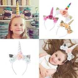 Kreskówka z kwiatami jednorożcem kocie uszy Hairbands dla dziewczynek opaska na imprezę dla dzieci ozdoba do włosów Selfie Prop dziecięce akcesoria do włosów
