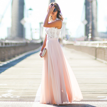 2019 Hot Sell Women Sexy Vestidos Party Dresses Nude Pink Beach Summer Boho Maxi Long Hollow Out Patchwork Sundress plus size 2