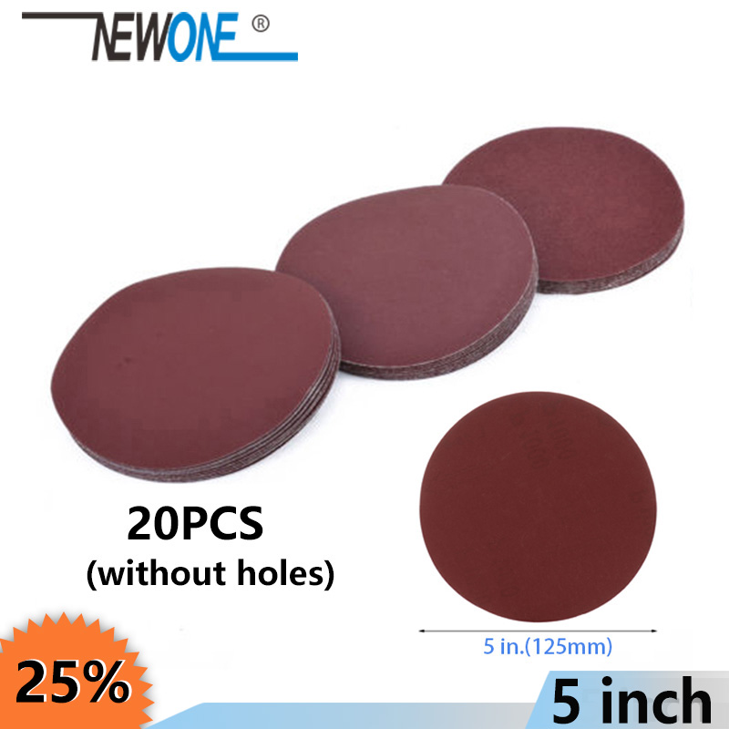 "NEWONE 20pcs/set 125mm 5""/5inch Sanding Discs Sandpaper Pads Set For Abrasive Tools Polisher Multi Grit Grinding Accessoreis"