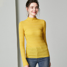 купить 100% Wool Turtleneck Sweater Yellow Fringe Knit Sweater Winter Clothes Women Sweaters and Pullovers Black Ribbed Sweater za Top дешево