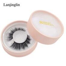 LANJINGLIN 1 pair mink eyelashes 3D lashes natural false eyelash extension soft fake eye winged hand made makeup