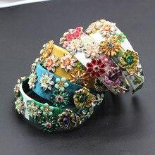 Novo barroco moda luxo strass flor de metal multicolorido com aro cabelo baile mostrar acessórios para cabelo viagem 685