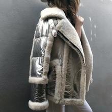 2020 neue winter mantel frauen echt pelzmantel splitter Echtem Leder Schafe doppelseitigen Pelz jacke weiße ente unten motorrad jacke