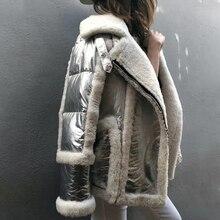 Blouson dhiver pour femme en véritable fourrure de mouton blanc, fourrure Double face, blouson de moto en argent, 2020