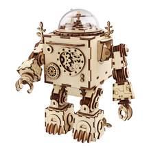 Robotime – kit de construction de maquettes en bois, modèle de Robot assemblé avec boîte à musique, jouet pour enfants et adultes, cadeau AM601, à monter soi-même, livraison directe