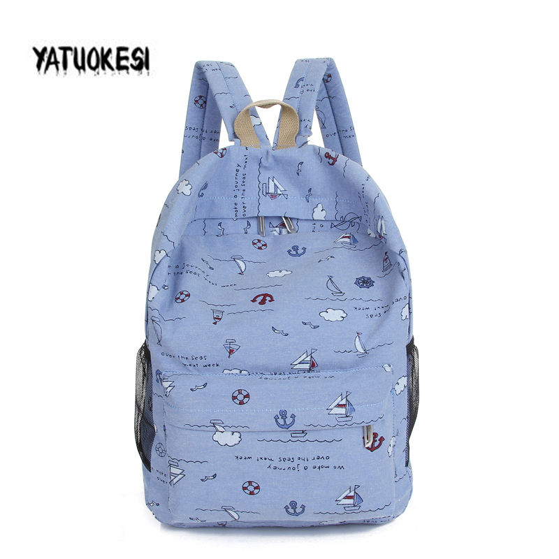 YATUOKEIS Fashion Women Canvas Carton Print School Bag For Girl Back Pack Female Cute Backpack Travel Women Shoulder Bags