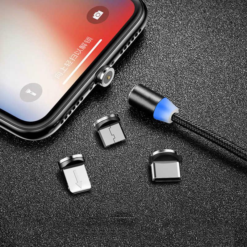 1m 2m manyetik mikro USB kablosu iPhone Samsung Android cep telefonu için hızlı şarj USB C tipi kablo mıknatıs şarj kablosu