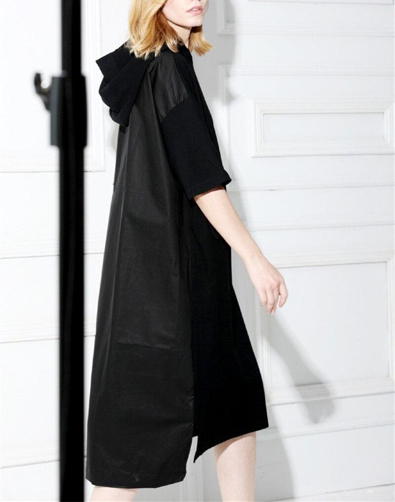 Coton polyester épissé femmes été nouvelle mode à capuche longue robe EU taille un & plus