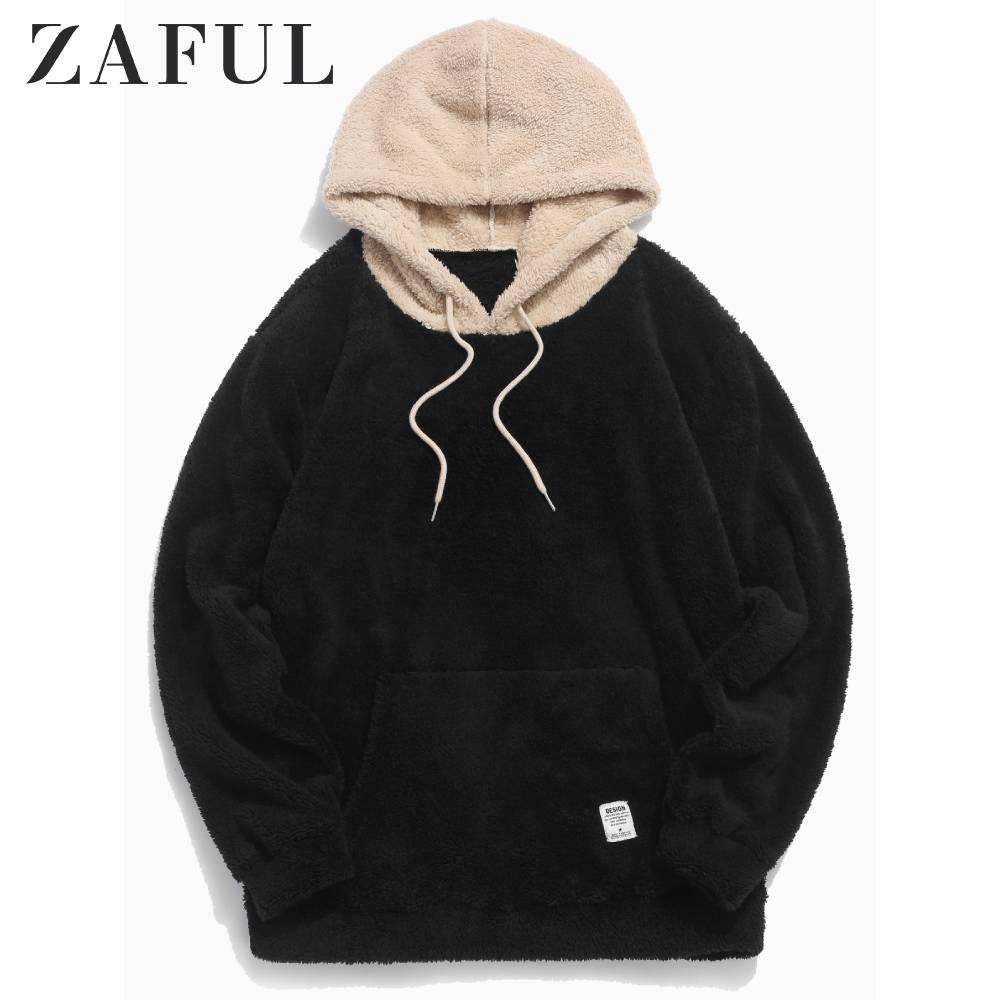 ZAFUL Men's Hoodies Color-blocking Splicing Fuzzy Pullover Hoodie Drawstring Sweatshirts Streetwear Men Solid Color Tops Autumn