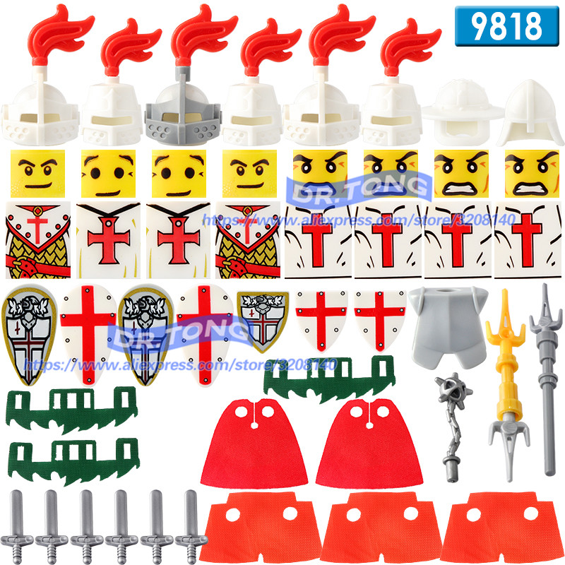 DR.TONG Single Sale Medieval Knights Crusader Rome Commander Super Hero Building Blocks Toys Children Gifts 9818