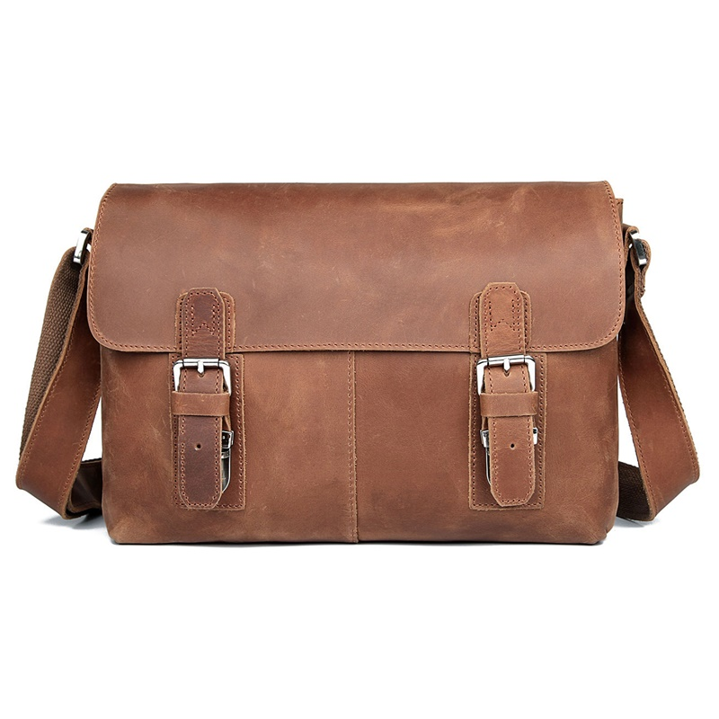 Dark brown 100/% Genuine Leather Lady/'s Body Messenger Bag