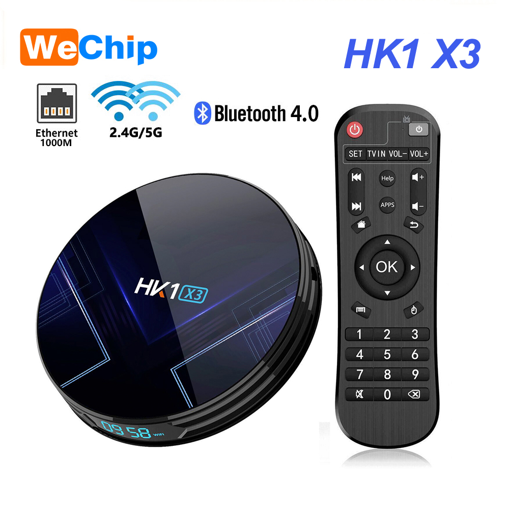 Original Wechip  HK1 X3 Android 9.0 Smart TV BOX 4GB RAM Amlogic S905X3 2.4G&5G Wifi BT4.0 1000M LAN  Player HD 8K Smart TV BOX