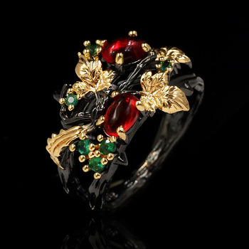 New Exquisite Leaf Flower Color Zircon Ladies 925 Silver Ring Jewelry Black Gold Two-color Red