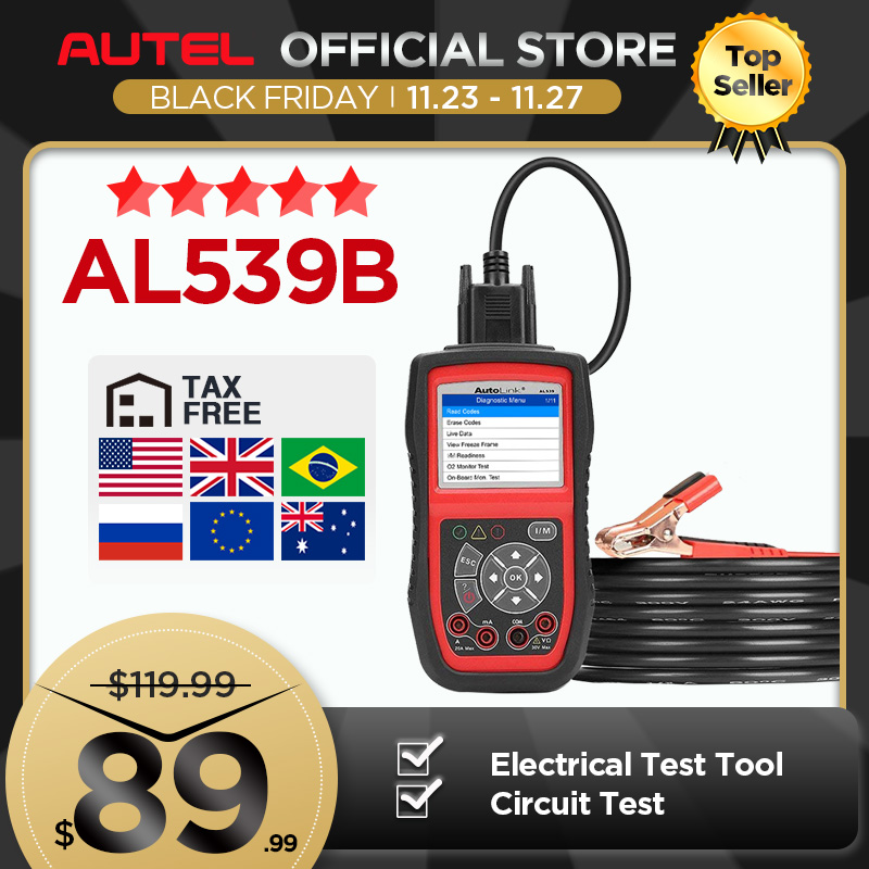 Autel AL539B OBD2 Scanner Code Reader Battery Tester Avometer for 12 Volts Diagnostic Tool Electrical Tester built in speaker|autolink al539b|autel autolink al539bautel autolink - AliExpress