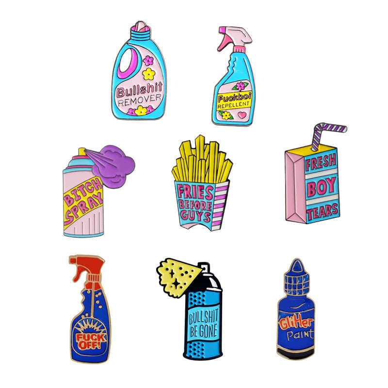 Cartoon Detergent Spray Lapel Pins Bullshit Remover Brooches Badges Backpack Accessories Enamel Pins Jewelry Gift For Friends