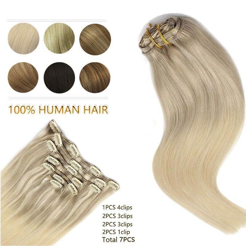 Remy klips do włosów w doczepy z ludzkich włosów naturalny czarny do jasnobrązowego miód blond Ombre proste doczepiane włosy 20 Cal 120g