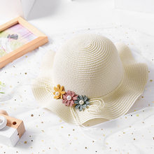 2019 Summer Kids Beach Hat Girls Cute Flower Sun Hats Children Handmade Straw Wave Wide Brim children Sun Hats Casual Shade Cap(China)