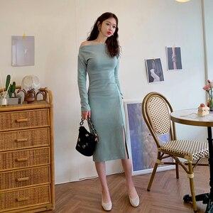 Новое зимнее вечернее платье для ночного клуба, элегантное синее платье с длинным рукавом и вырезом-лодочкой, приталенное платье с разрезом...