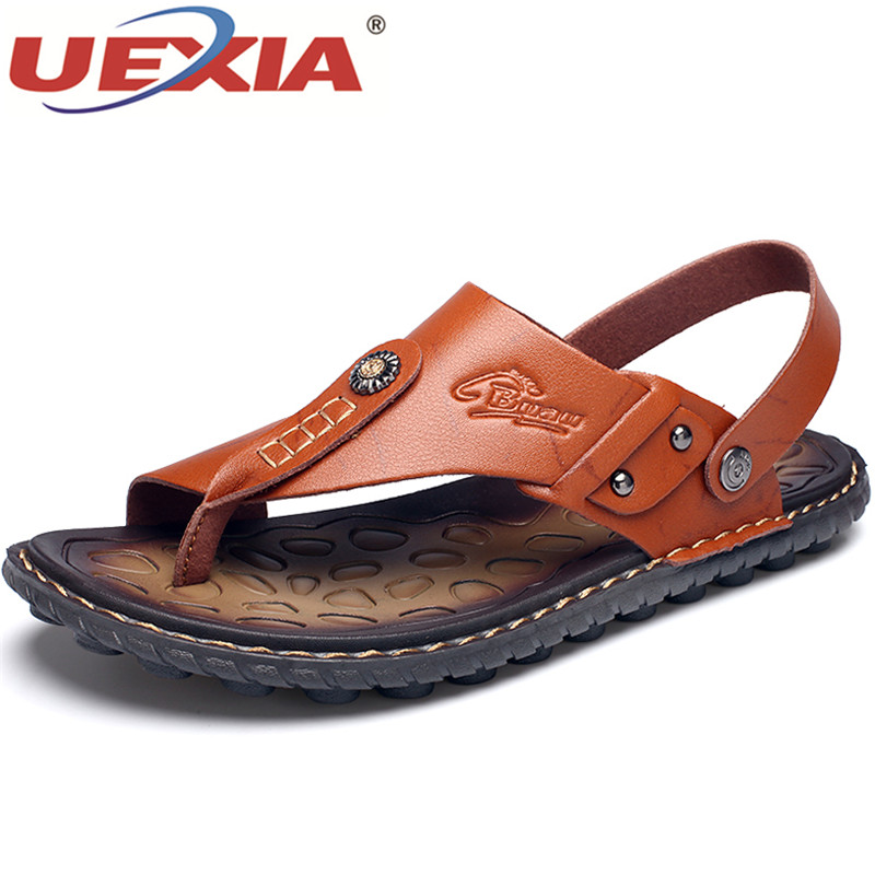 UEXIA Mens Flip Flops Plus Size 47 Brand Summer Leather Sandals Men Casual Shoes Outdoor Beach Comfortable Soft Sole Slippers