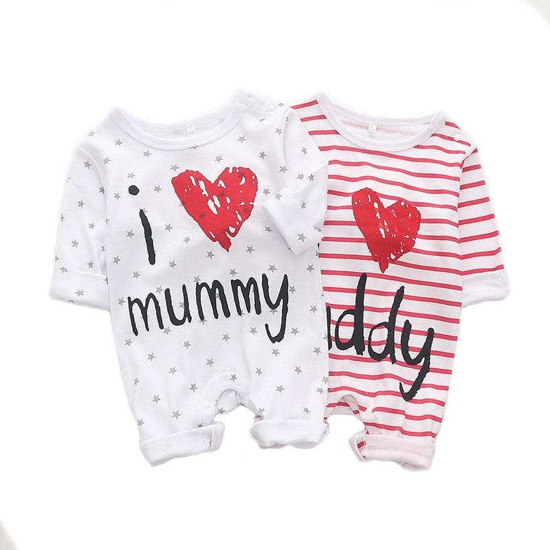 Baby Infant Boy Girls Newborn Cotton Love Mom Dad Romper Clothes Jumpsuit Suits
