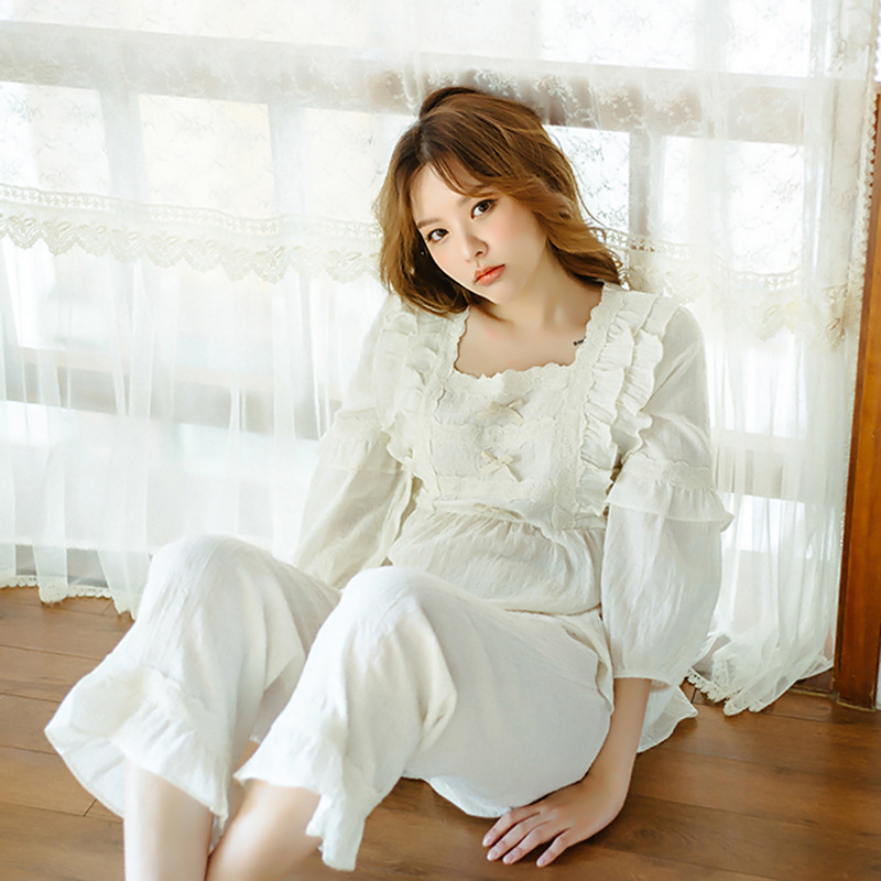 Lady Lolita Victorian Nightwears Sleepwear Pajamas Suits Embroidered Lace Ruffle