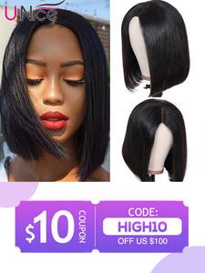 Unice Lace-Front Wigs Human-Hair-Wigs Short Blunt-Cut Deep-Part Bob Friday Deal Black