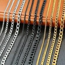 Vnox erkek küba Link zinciri kolye paslanmaz çelik altın siyah renk erkek gerdanlık yakası takı hediye onun için
