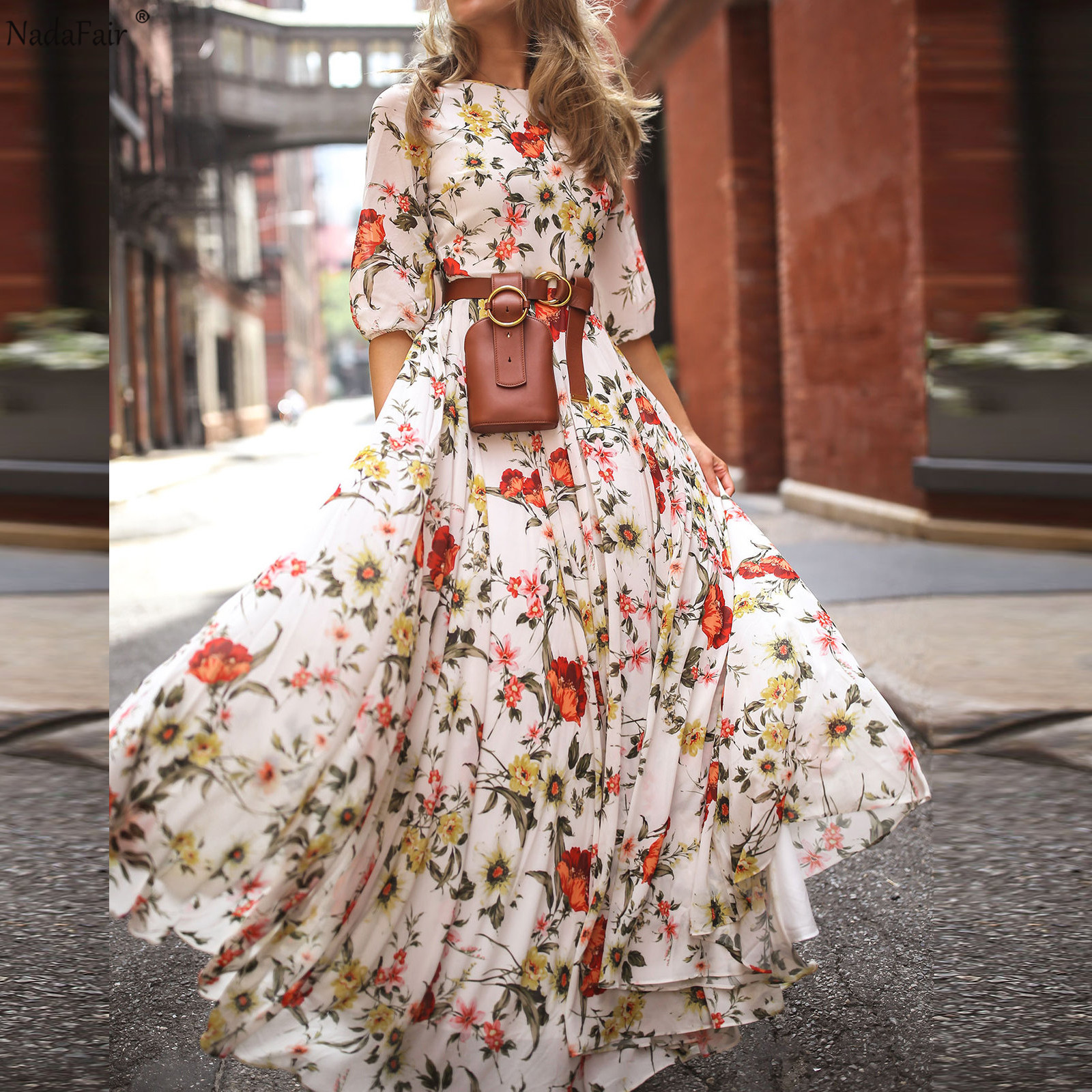 Nadafair Boho Dress Summer Women Long Elastic High Waist O Neck Printed Elegant Beach Vacation Floral Maxi Dresses Woman Vestido