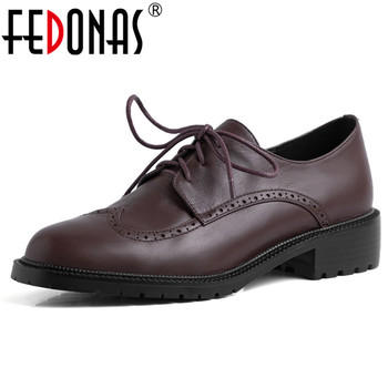FEDONAS Classic Pumps Women Spring Autumn Four Season Pumps Genuine Leather Office Basic Shoes Woman Round Toe Shallow Pumps фото