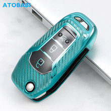 carbon fiber car key case tpu overlay accessories for ford f 150 ecosport ranger explorer TPU Car Key Cover For Ford Explorer Ranger Mondeo F-150 F250 F350 3 Buttons Folding Keychain Carbon Style Remote Protector Case