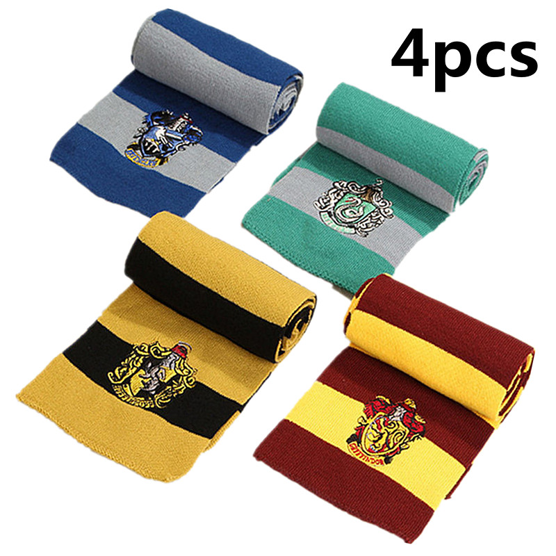Winter Warm Hat Gryffindor/Slytherin/Hufflepuff/Ravenclaw Scarf Tie Cosplay Kids Women Men Christmas New Year Scarf Gift