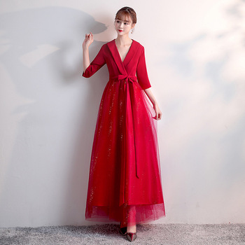 Red V-neck Evening Dresses Simple A-line Stitching Floor-length Plus size Customized Three Quarters Sleeves Formal Dress R1530