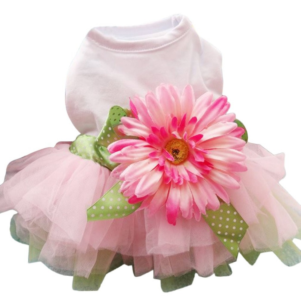 Pet Dog Dress Spring Summer Clothes Cute Sunflower Princess Skirt Wedding Ball Gown Party Dress Pet Supplies|Dog Dresses| |  - title=